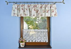 """Kész rövid, vitrázs, fényáteresztő függöny, dekor fodor """"Ida"""" méretei magsság 280 × szélesség 40cm"""