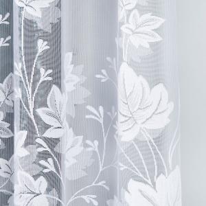 Záclona biela metrážová žakarová listy