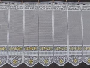 Rövid, fehér vitrázs, fényáteresztő függöny, méterárú Jacquard színes motívummal