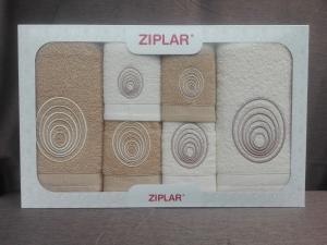 """Ziplar souprava ručníku a osušky s výšivkou: """"Espiral"""" 6ks odstínu: béžová"""