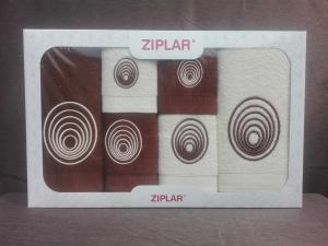 """Ziplar súprava uterákov a osušiek s výšivkou: """"Espiral"""" 6ks odtieň: hnedá"""