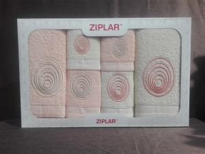 """Ziplar souprava ručníku a osušky s výšivkou: """"Espiral"""" 6ks odstínu: meruňková"""