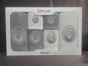 """Ziplar súprava uterákov a osušiek s výšivkou: """"Espiral"""" 6ks odtieň: sivá"""
