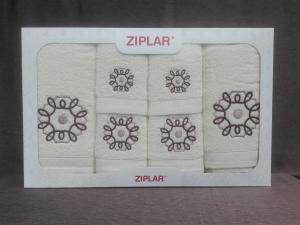 """Ziplar souprava ručníku a osušky s výšivkou: """"Mystico"""" 6ks odstínu: krémová"""