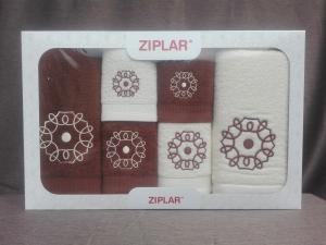 """Ziplar souprava ručníku a osušky s výšivkou: """"Mystico"""" 6ks odstínu: hnědá"""