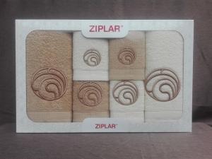 """Ziplar 6 darabos kéztötrlő és törölköző set hímzése: """"Ondas"""" árnyalata: bézs"""