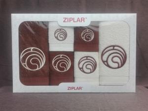 """Ziplar 6 darabos kéztötrlő és törölköző set hímzése: """"Ondas"""" árnyalata: barna"""