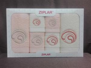 """Ziplar 6 darabos kéztötrlő és törölköző set hímzése: """"Ondas"""" árnyalata: barackszínű"""