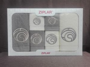 """Ziplar 6 darabos kéztötrlő és törölköző set hímzése: """"Ondas"""" árnyalata: szürke"""