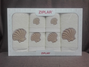 """Ziplar souprava ručníku a osušky s výšivkou: """"Concha"""" 6ks odstínu: krémová"""