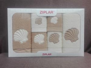 """Ziplar souprava ručníku a osušky s výšivkou: """"Concha"""" 6ks odstínu: béžová"""