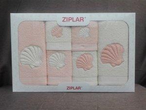 """Ziplar súprava uterákov a osušiek s výšivkou: """"Concha"""" 6ks odtieň: marhulková"""