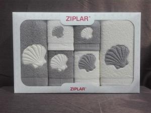 """Ziplar 6 darabos kéztötrlő és törölköző set hímzése: """"Concha"""" árnyalata: szürke"""