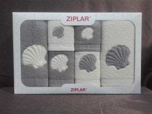 """Ziplar súprava uterákov a osušiek s výšivkou: """"Concha"""" 6ks odtieň: sivá"""