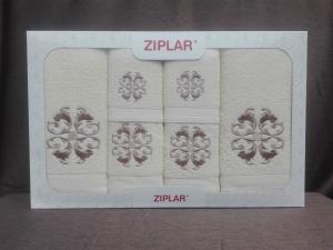 """Ziplar 6 darabos kéztötrlő és törölköző set hímzése: """"Austrália"""" árnyalata: krém"""