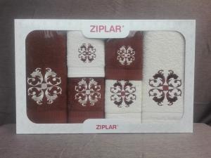 """Ziplar 6 darabos kéztötrlő és törölköző set hímzése: """"Austrália"""" árnyalata: barna"""