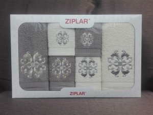 """Ziplar souprava ručníku a osušky s výšivkou: """"Austrália"""" 6ks odstínu: sivá"""