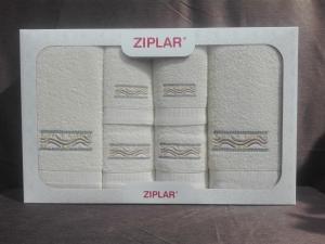 """Ziplar souprava ručníku a osušky s výšivkou: """"Viking"""" 6ks odstínu: krémová"""