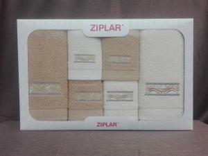"""Ziplar 6 darabos kéztötrlő és törölköző set hímzése: """"Viking"""" árnyalata: bézs"""