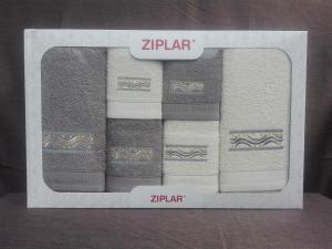 """Ziplar 6 darabos kéztötrlő és törölköző set hímzése: """"Viking"""" árnyalata: szürke"""