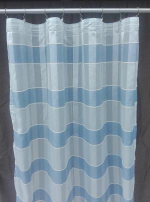 Hotový závěs lehký béžový s modrymi pruhy N 06