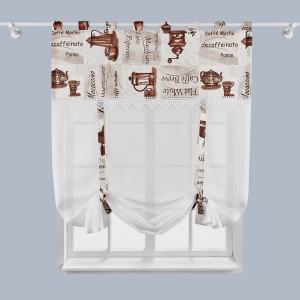 Hotová záclona Voálová bíla s čipkou motív káva rozměr: 170cm × 100cm