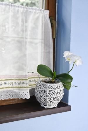 """Hotová záclona vitrážka s našitou riasiacou páskou """"Provence"""" výška: 60cm šírka: 110cm posledné 3ks"""