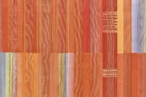 """Závěs lehký-dekorační mertážový """"Lesa"""" – oranžový s kockama"""