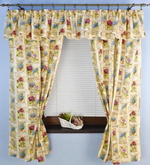 """Készrevarrt, dekorációs  függöny-készlet,  """"Rita"""" méretei: 160cm × 140cm + 40cm × 330cm"""