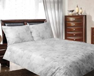 Obliečka saténová jednofarebná s jemným kvetmi sivobezovej farby rozmerov: 70cm×90cm (2ks) + 140cm×200cm (2ks)