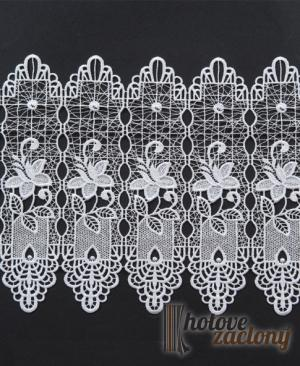 Záclona bíla metrážová vyšívaná vitrážka