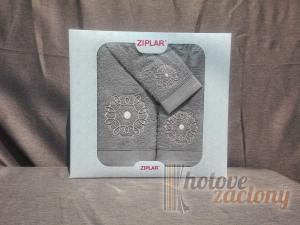 Ziplar souprava ručník a osuška výšívaná: Mystico 3ks odstínu: sivá