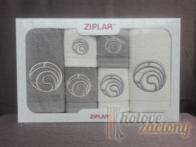 """Ziplar souprava ručníku a osušky s výšivkou: """"Ondas"""" 6ks odstínu: sivá"""