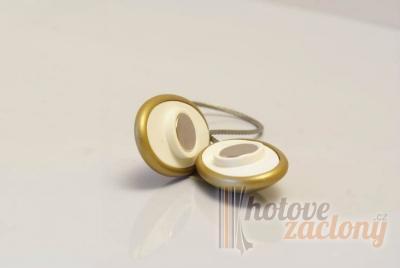 Magnetka ocelová na závěs nebo záclonu ve tvaru: ovál, odstínu: staré zlato a rozměru: 35cm