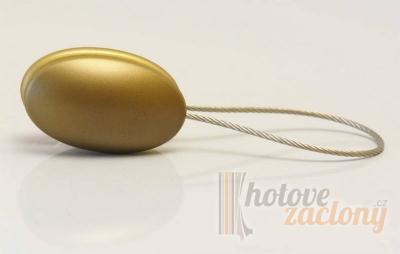 Magnetka ocelová na závěs nebo záclonu ve tvaru: ovál, odstínu: staré zlato a rozměru: 55cm