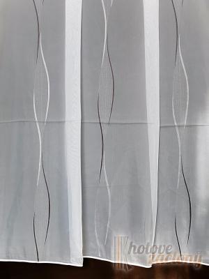 Záclona bíla metrážová voál hladký se sivým vzorem