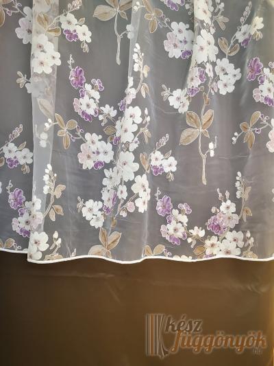"""Organza, fényáteresztő függöny, méterárú, """"lila virágok"""""""