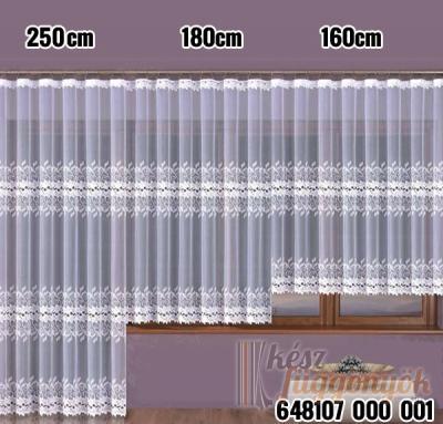 Jacquard, fehér fényáteresztő készfüggöny készlet méretei: 2,5 x 1,9m a 1,8 x 4m