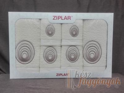 """Ziplar 6 darabos kéztötrlő és törölköző set hímzése: """"Espiral"""" árnyalata: krém"""
