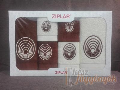 """Ziplar 6 darabos kéztötrlő és törölköző set hímzése: """"Espiral"""" árnyalata: barna"""
