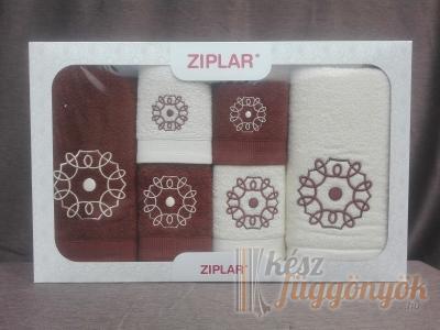 """Ziplar 6 darabos kéztötrlő és törölköző set hímzése: """"Mystico"""" árnyalata: barna"""