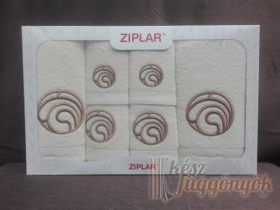 """Ziplar 6 darabos kéztötrlő és törölköző set hímzése: """"Ondas"""" árnyalata: krém"""