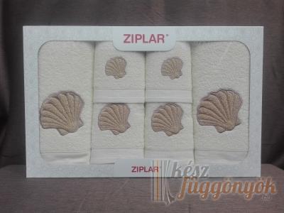 """Ziplar 6 darabos kéztötrlő és törölköző set hímzése: """"Concha"""" árnyalata: krém"""