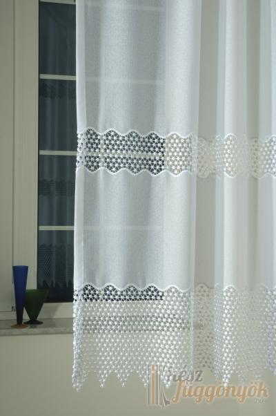 """Hímzett, fényáteresztő függöny, méterárú, """"Gyöngyi_fehér"""""""