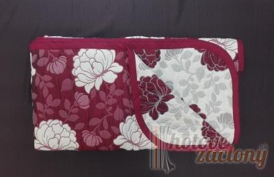 """Prehoz bavlna / polyester bordový """"Ružičky"""" rozmerov: 210cm × 230cm"""