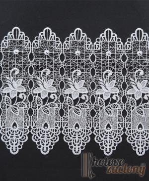Záclona vyšívaná bielá metrážová vitrážka