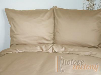 Obliečka saténová jednofarebná béžová rozmerov:70cm×90cm (1ks) + 140cm×200cm (1ks)